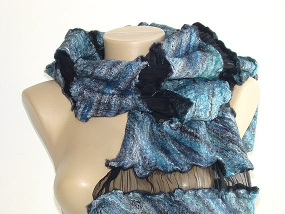 Felted  wool  Scarf Wool Silk Art blue-black shawl Mother's Day gift