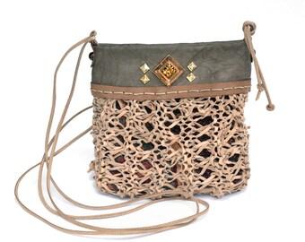 Small leather purse, handmade leather bag, beige crossbody bag, knitted leather bag, unique purse, fashion bag, embellished bag