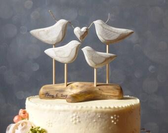 Family Wedding Cake Topper,  Wooden Cake Topper for your Family Wedding Cake, Beach Wedding Topper, Love Bird Cake Topper