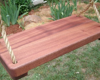 Wood Tree Swing- Sapele 1 3/4 Inch Wide Thick