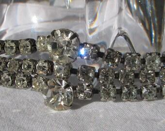 "Bright & Elegant Retro 1960's Multi Row Clear Rhinestone Bracelet, 7"""