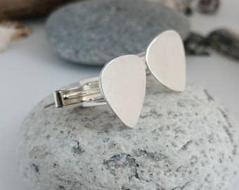 Guitar Pick Cufflinks - Sterling Silver Custom Plectrum Cufflinks, Personalised Cufflinks, Music Cufflinks, Silver Hallmarked Cufflinks