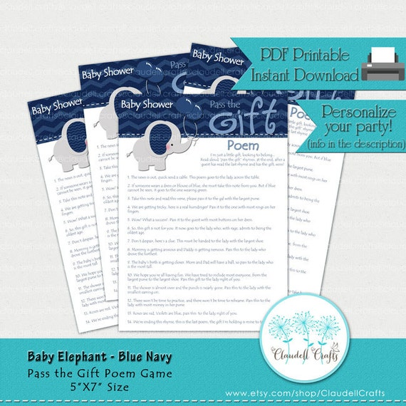baby elephant blue navy pass the gift poem baby shower game card by