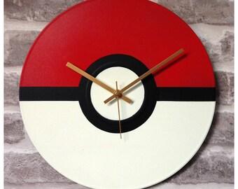 "Vinyl Record Wall Clock 12"" -  Pokemon PokeBall Stencil Handmade Fan Art Parody"