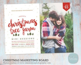 Christmas Tree Farm - Christmas Mini Session Template - Photography Marketing - Photoshop template - IC038 - INSTANT DOWNLOAD