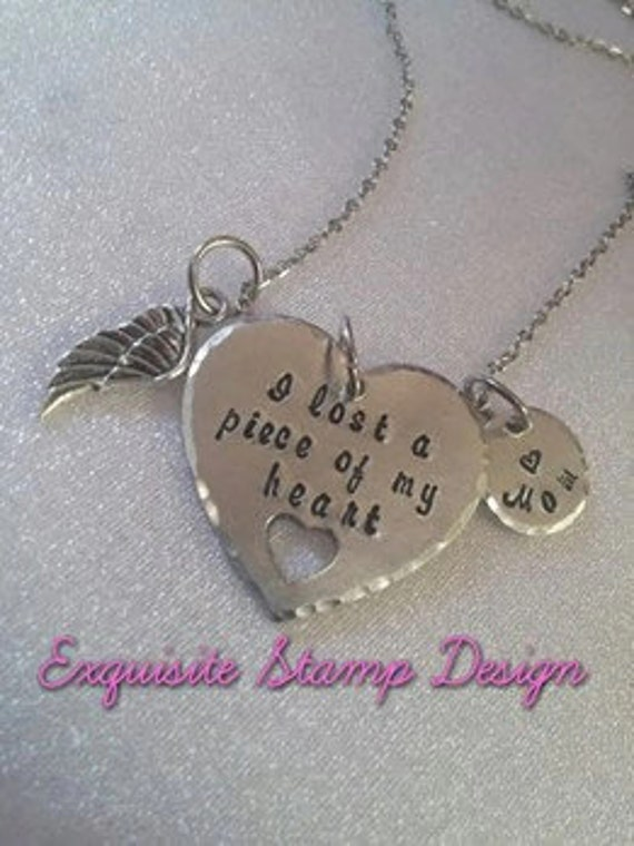 A Piece Of My Heart - Memorial Necklace - Personalized Jewelry - Sympathy Gift - In Memory Of - Loss Of Mother - Keepsake Memorial Jewelry
