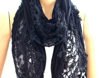 Black lace flowers cotton shawl, black shawl, flower shawl, new scarves, new shawl, fashion shawl, accessories, lace scarf, lace shawl, gift