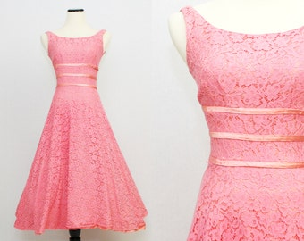 50s Pink Lace Dress - Vintage Full Skirt Sleeveless Coral Pink Lace Party Dress