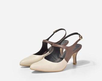 Adina Ivory Leather Heels, Ivory Leather Pumps, Leather Pointed Toe Pumps, Leather Work Heels, Calf Leather Mary Jane