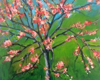 2017 SPRING STUDIO SALE : 11x14 Oil Painting of  Flowering Peach Tree