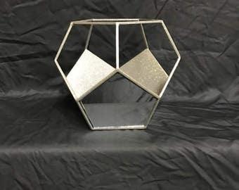 """10"""" Geometric Mirrored Pentagon Vase, Container"""