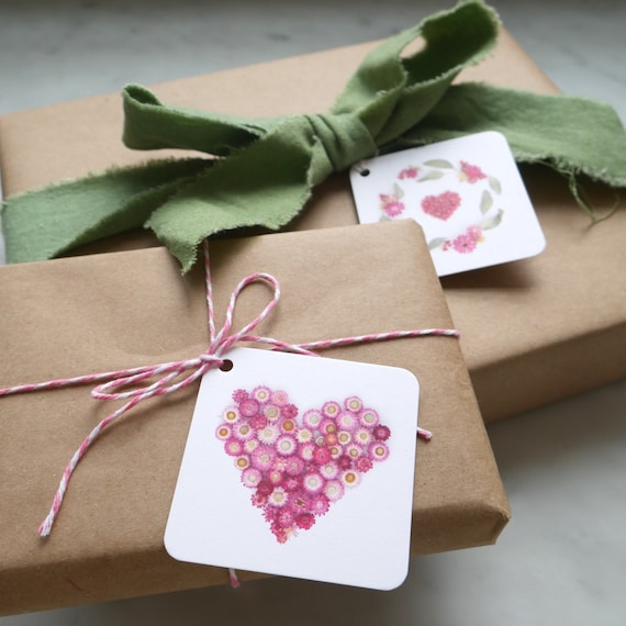 Gift tags ~ hearts and flowers ~ botanical art ~set of 5