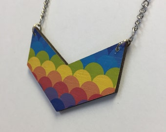 Hand Painted Rainbow Wood Necklace by oldmanwithers