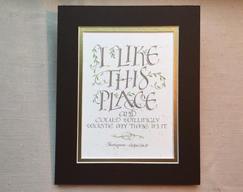 Shakespeare Quotation in Calligraphy as Digital Print
