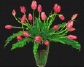 Tulip Cross Stitch Pattern-Printable Pink Tulips Pattern-Digital Flowers Prints-Digital Tulips Embroidery-PDF File