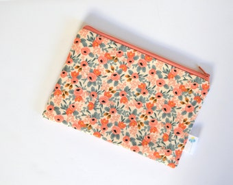 Floral Zipper Pouch, Peach Makeup Bag, Floral Zip ID Case, Change Purse Organizer Rifle Zipper Clutch Wallet Gift for Best Friend Gadget Bag