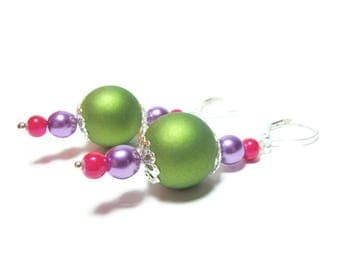 Colorful earrings green soft touch pearl purple glass bead pink long earrings Miracleperle