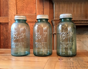 Antique Ball Canning Jars, 2 Quart, Half Gallon Ball Jars, Blue Glass Canning Jar With Zinc Lid, Pantry Storage