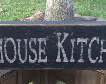 Farmhouse Kitchen with Rooster  12648 Primitive Wood Block Sign