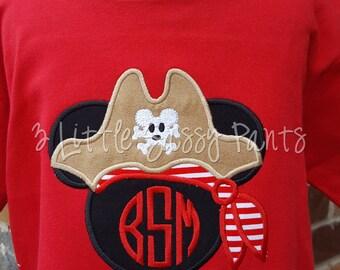 Mickey Mouse Pirate Shirt- Mickey Applique Pirate Shirt- Custom Disney Shirt- Vacation- Monogrammed Shirt