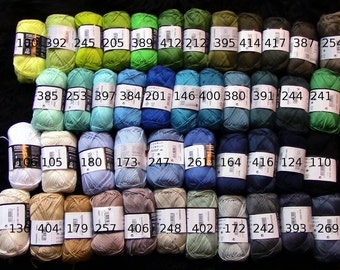 5, Catania cotton yarn, 5 skeins, 250 gr total, quality  Cotton yarn, each 50g, pick your colors, now 85 colors, lalylala, granny squares