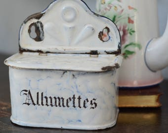 French Antiques - Allumettes Enamel Match Box - French Antique Enamelware Box, Graniteware Allumette Matches for Kitchen