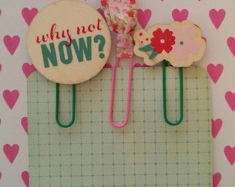 Planner Clips Pink Floral Set