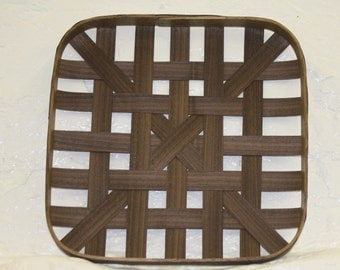 "TOBACCO BASKET. North Carolina tobacco  12""×12"" reproduction tobacco walnut with basic weave"