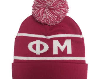 Phi Mu Knit Beanie Pom Winter Hat