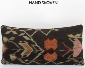 lumbar kilim pillow lumbar pillow kilim turkish pillow decorative pillow couch decorative throw pillow bohemian decor 12x24 DECOLIC F2548