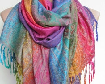 Pashmina Scarf Shawl Oversize Rainbow Scarf Fall Winter Women Fashion Accessories Boho Ombre Scarf Holiday Christmas Gifts For Her For Women