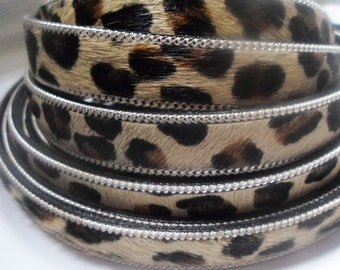 """SALE: PER 8"""" 15mm Flat Leopardino Silver Chain Leather Cord, jewelry supplies, craft, animal print, hair on, colt leather, high quality,"""