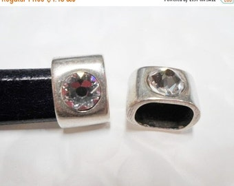 1 Set Silver and Swarovksi Crystal Squared Cord Ends, Cord cap ending