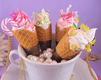 Waffle Cone Sundae Necklace, Ice cream, sweet, desert, kawaii, decora, fairy kei, Lolita fashion food necklace, ice cream cone pendant