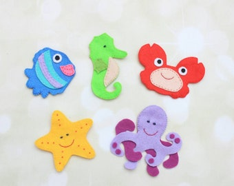 Felt finger puppets for kids sea creatures animal finger puppet educational puppets theatre preschool education miniature animals