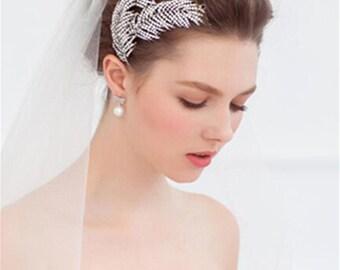 Rhinestones Feather Wedding Comb Decorative Comb Bridal Hair Accessory