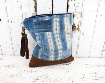WEST AFRICAN INDIGO Clutch Purse Bag Re-purposed 1900's Antique Textiles