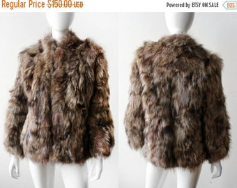 ON SALE Vintage 1970s Shaggy Racoon Fur Coat