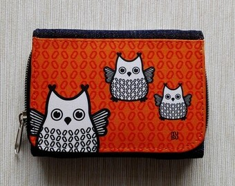 Wallet Purse Jeans Denim Card Holder Cash Coin Pocket Travel Snaps Debit Credit Photo Holder Zip Owl Green Orange