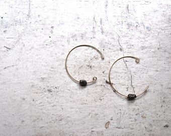 iron pyrite hoop earrings