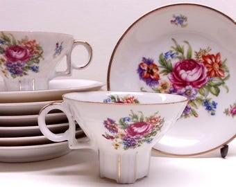 Floral Bouquet Porcelain Demitasse Cup & Saucers Set (7) + 3 extra Cups