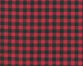Red and Black Plaid FLANNEL Fabric - Burly Beavers - Andie Hanna - Robert Kaufman. Checkers - 100% cotton flannel. AHEF-15995-3