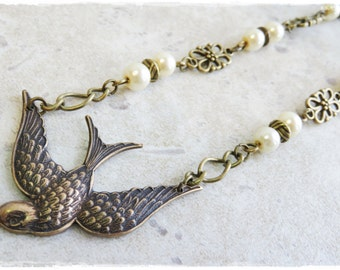 Bird and Pearls necklace, Brass stamping necklace, Bronze bird necklace