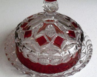 Ruby Flash Round Vintage Crystal Covered Dish