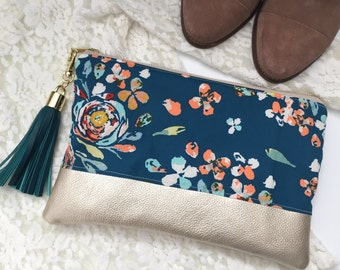 Teal Floral Clutch, Floral Leather Clutch, Evening Clutch, Wedding Clutch, Gift for Her, Bridesmaid Clutch, Tassel Clutch, Gift Under 50