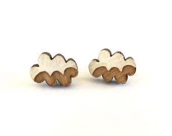 Wooden cloud earrings, clouds, raincloud earrings cloud studs