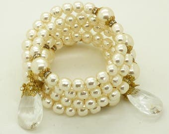 Miriam Haskell Glass Pearl Crystal Coil Bracelet
