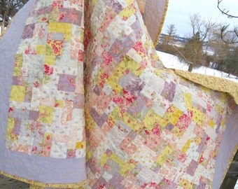 Handmade Lap Quilt | Patchwork Quilt | Chic Shabby Quilt | Modern Quilt | Homemade Quilt | Sofa Quilt | Cottage Chic Quilt | Pastel Quilt