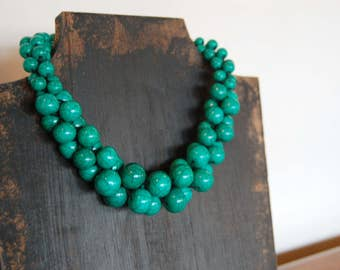 Chunky Green Necklace - Tibetan Beads - Classic Statement Jewelry - Rich Emerald Color