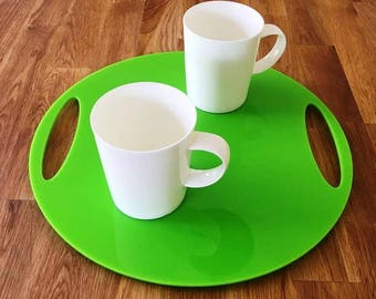 "Round Flat Serving Tray - Lime Gloss Finish Acrylic, 3mm Thick 32cm, 12.5"" Diameter"